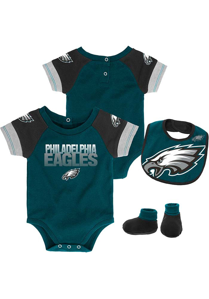 Philadelphia Eagles Baby Teal 50 Yard Dash Set One Piece with Bib - Image 1