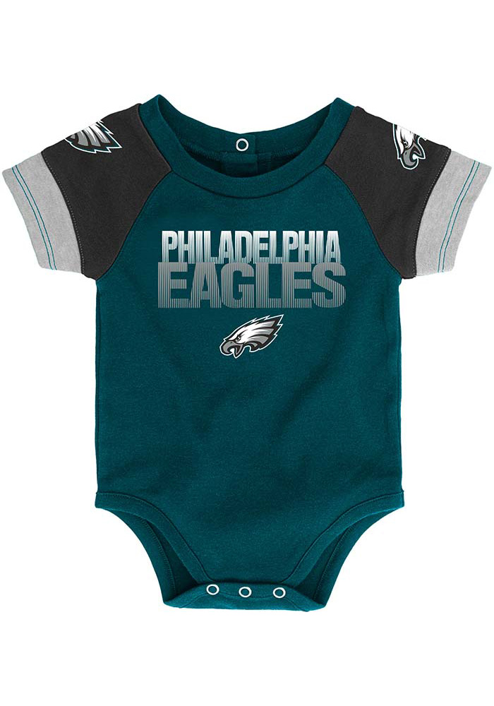 Philadelphia Eagles Baby Teal 50 Yard Dash Set One Piece with Bib - Image 2