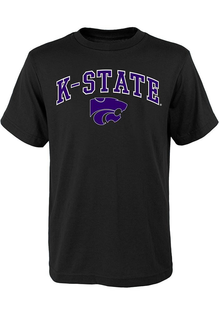 K-State Wildcats Youth Black Arch Mascot T-Shirt
