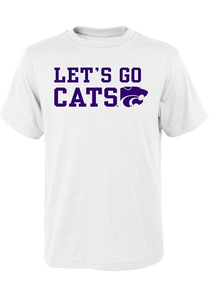 K-State Wildcats Youth White Lets Go Cats Short Sleeve T-Shirt - Image 1