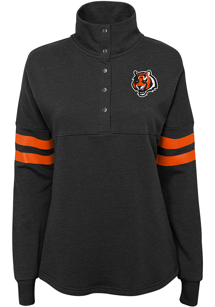 Cincinnati Bengals Womens Black Classic Throw 1/4 Zip Pullover - Image 1