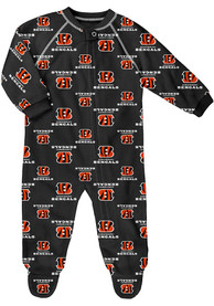 Cincinnati Bengals Baby Raglan One Piece Pajamas - Black
