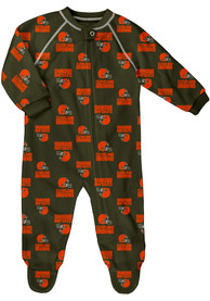 Cleveland Browns Baby Raglan One Piece Pajamas - Brown