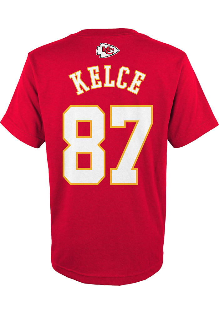 2b1faedca Travis Kelce Outer Stuff Kansas City Chiefs Youth Name and Number Red  Player Tee