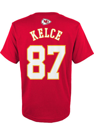 Travis Kelce Outer Stuff KC Chiefs Kids Name and Number Red Player Tee