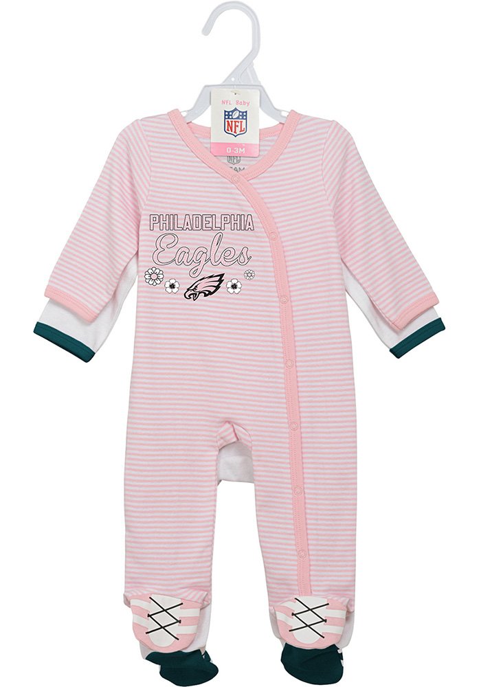 Philadelphia Eagles Baby White Sunday Best Loungewear One Piece Pajamas - Image 1