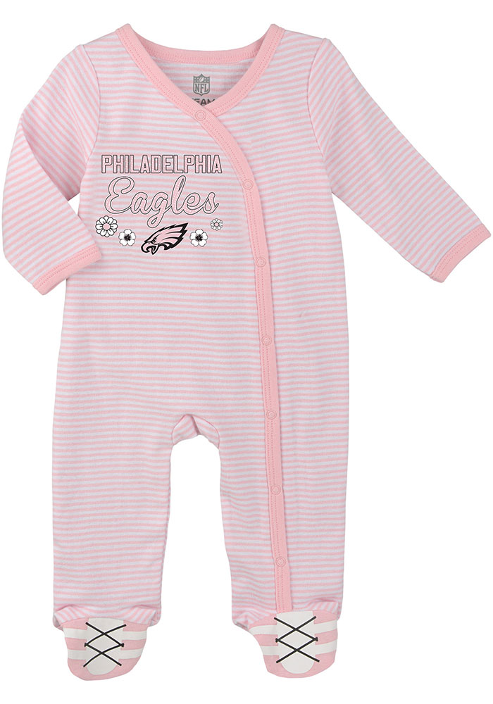 Philadelphia Eagles Baby White Sunday Best Loungewear One Piece Pajamas - Image 2