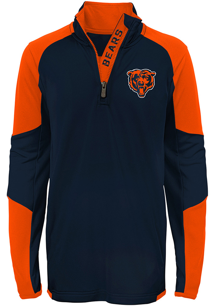 Chicago Bears Youth Navy Blue Beta Long Sleeve Quarter Zip Shirt - Image 1