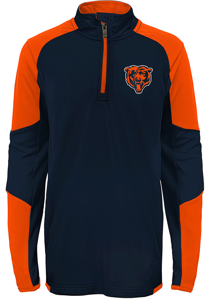 Chicago Bears Youth Navy Blue Beta Long Sleeve Quarter Zip Shirt - Image 2