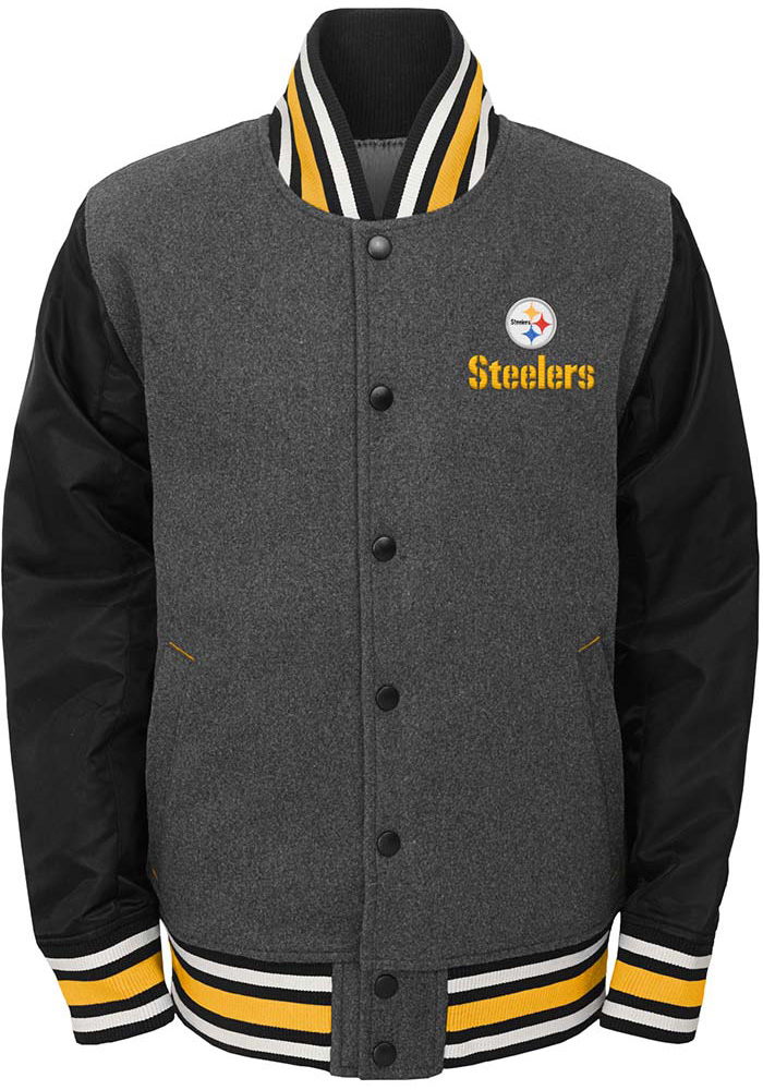 Pittsburgh Steelers Youth Grey Letterman Light Weight Jacket 916090025