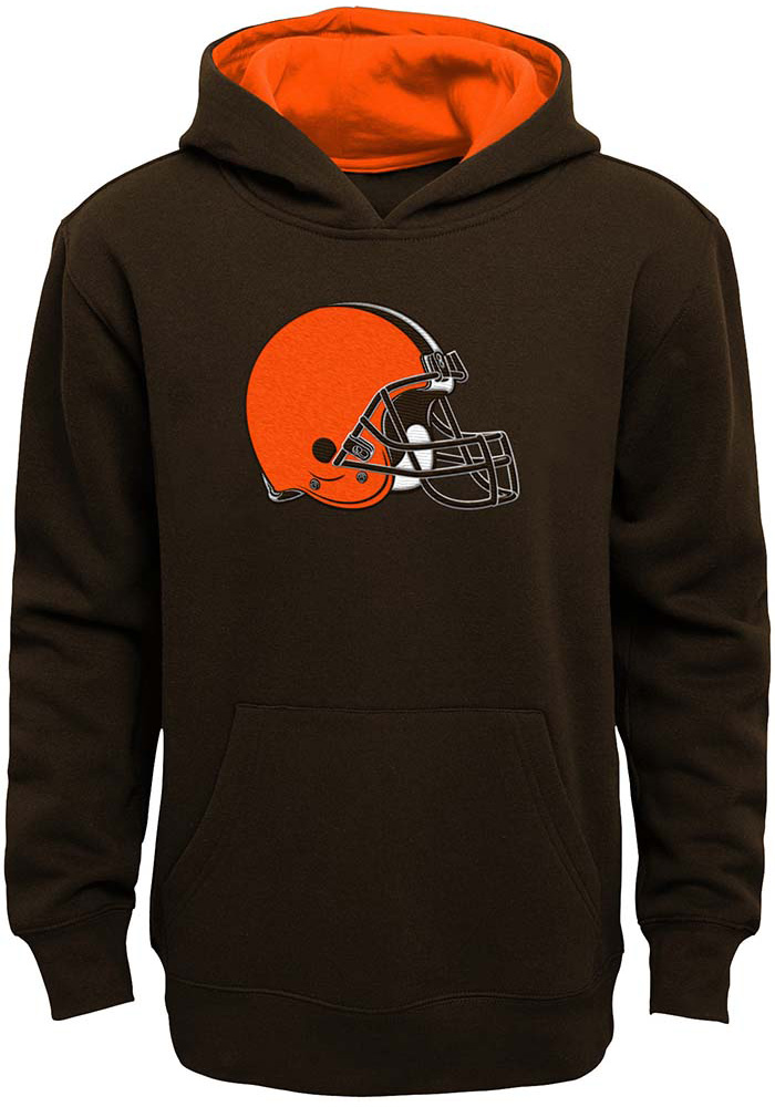 Cleveland Browns Boys Brown Prime Long Sleeve Hooded Sweatshirt - Image 1 d78bf1cec