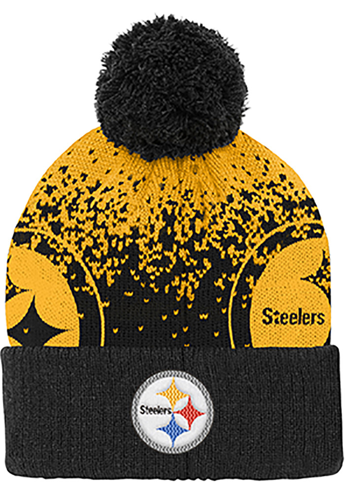 Pittsburgh Steelers Black Gradient Jaquard Cuffed Youth Knit Hat - Image 1