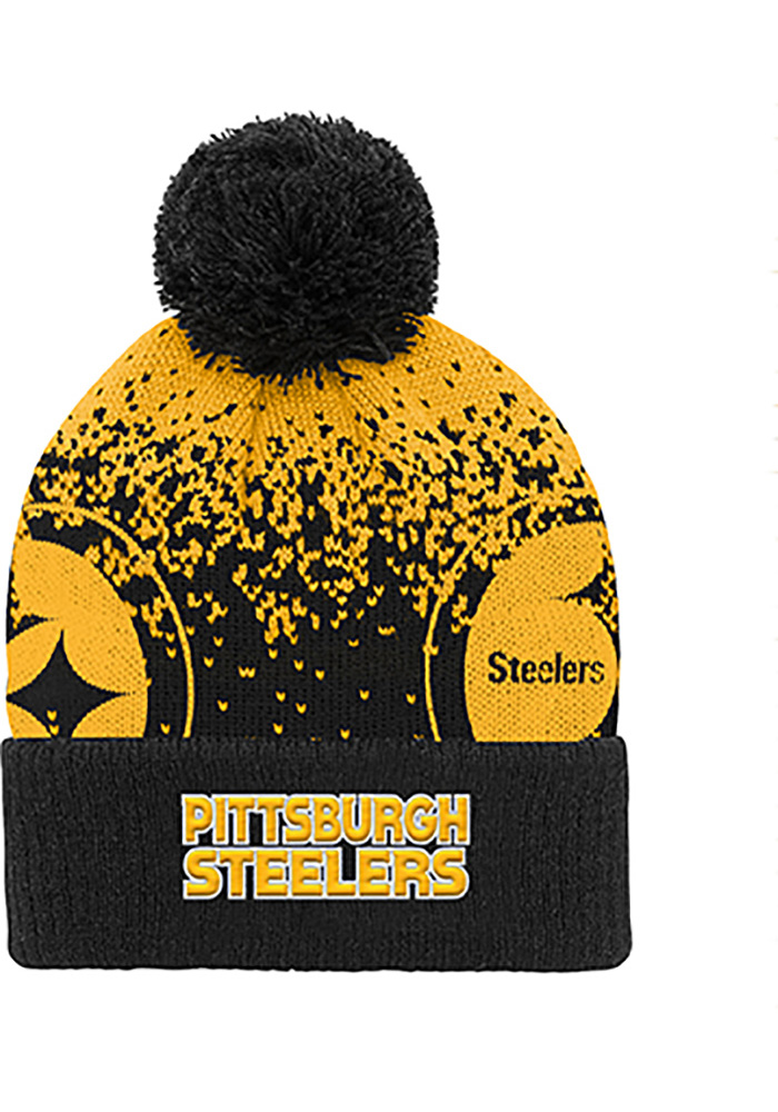 Pittsburgh Steelers Black Gradient Jaquard Cuffed Youth Knit Hat - Image 2