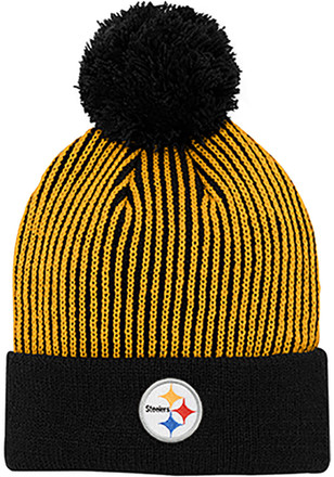 Pittsburgh Steelers Black Hidden Rib Cuffed Youth Knit Hat 7b16e7f585cf