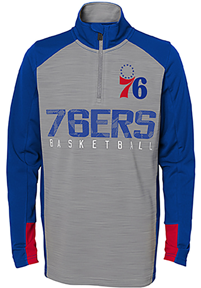 14a50e9dc Philadelphia 76ers Youth Shooter Grey Quarter Zip Shirt