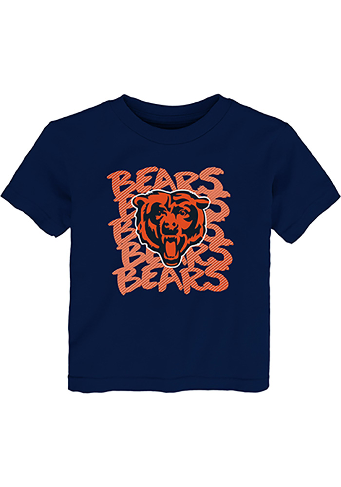 Chicago Bears Baby Navy Blue Graph Repeat Long Sleeve T-Shirt - Image 1