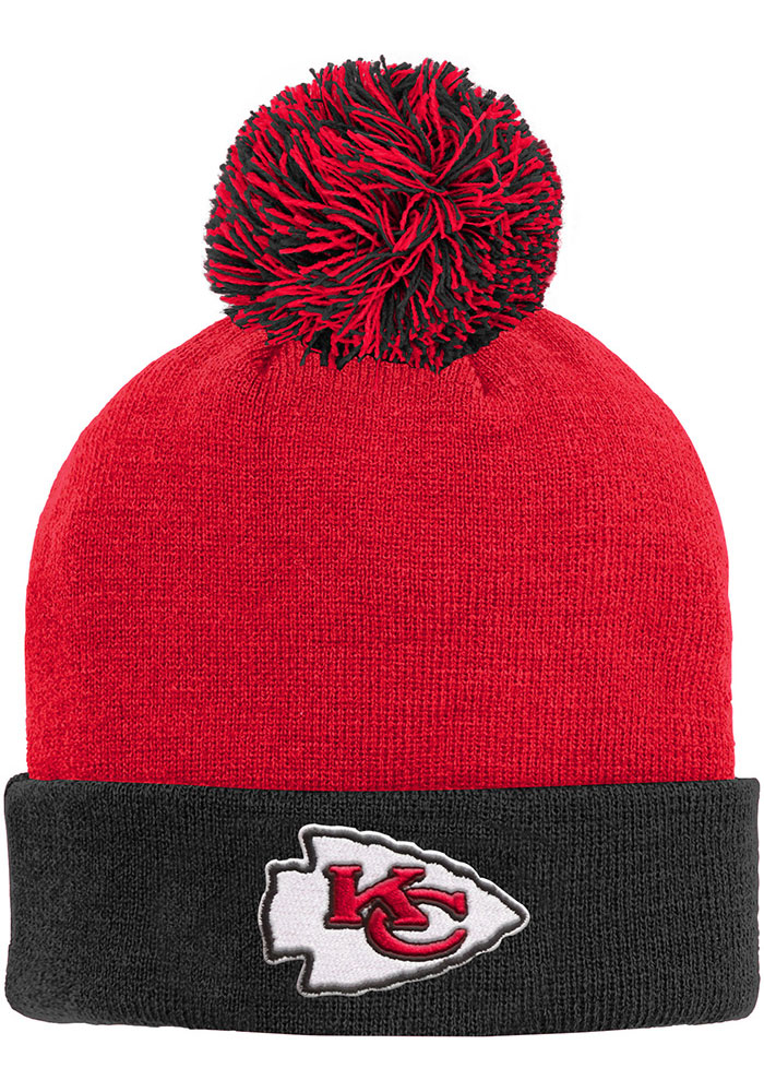 Kansas City Chiefs Red Cuffed Pom Youth Knit Hat - Image 1