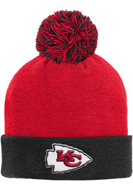 Kansas City Chiefs Youth Cuffed Pom Knit Hat - Red