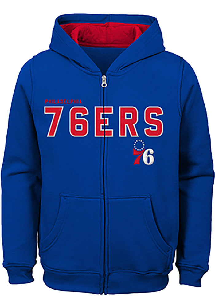 032ded693 Philadelphia 76ers Youth Blue Foundation Full Zip Jacket