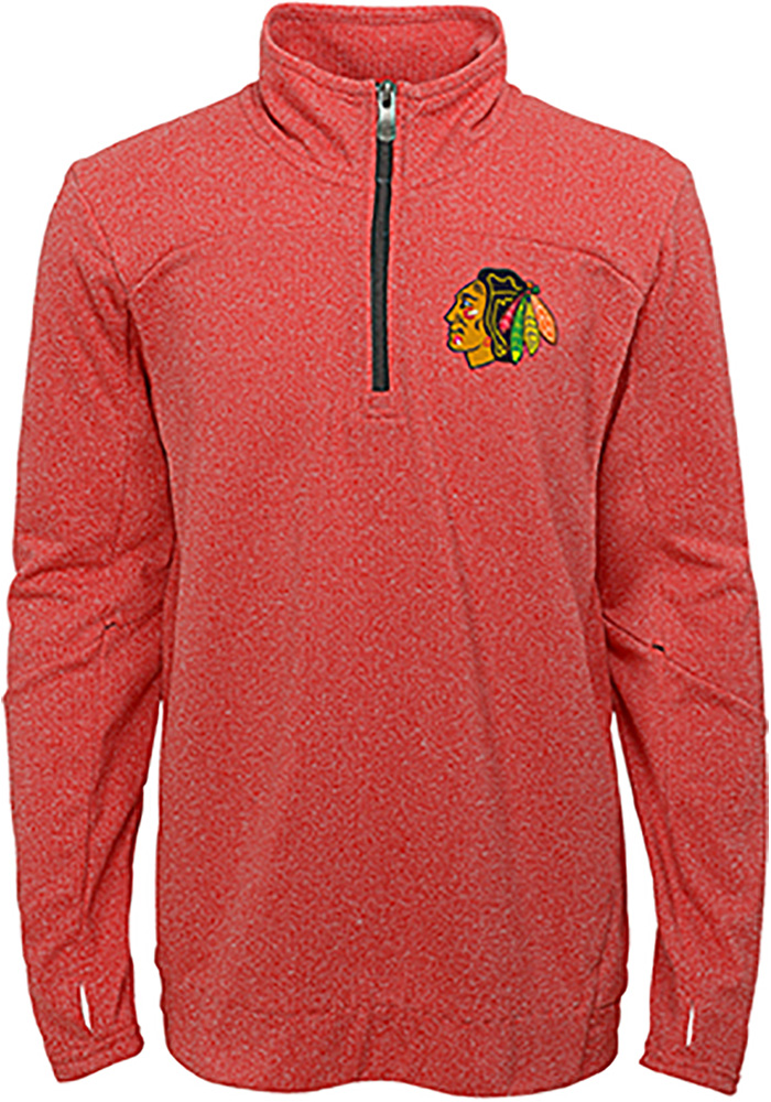 Chicago Blackhawks Youth Red Polymer Long Sleeve Quarter Zip Shirt - Image 1