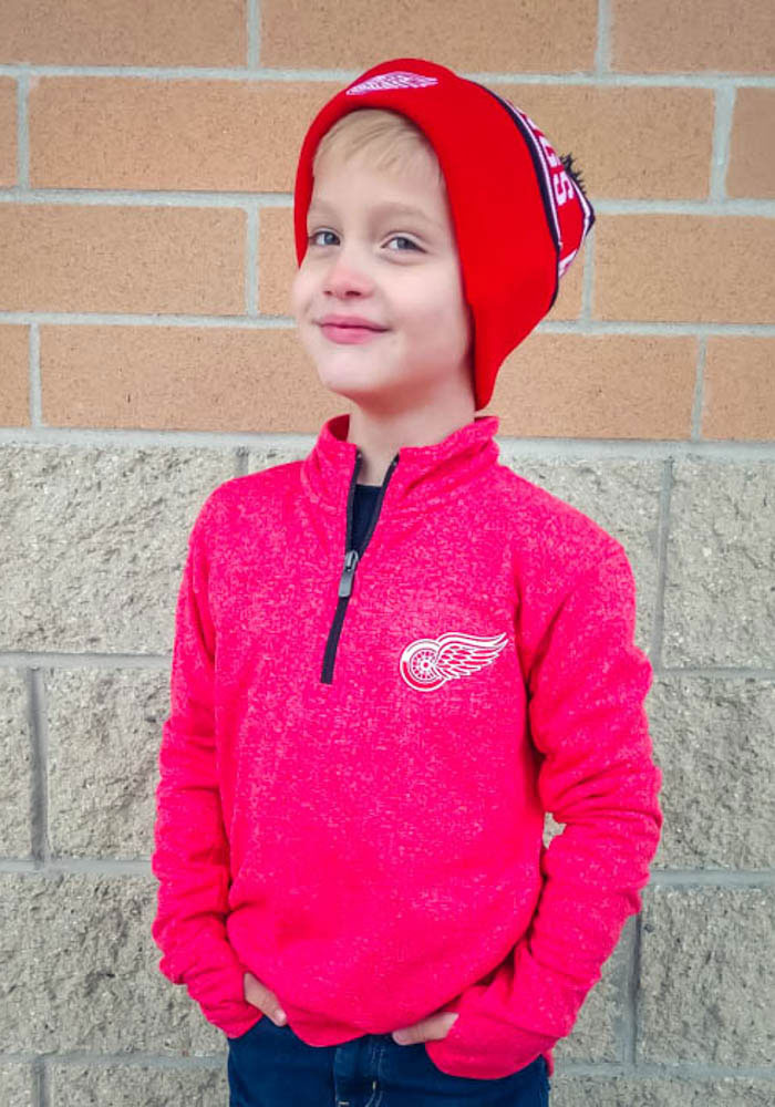 Detroit Red Wings Youth Red Polymer Long Sleeve Quarter Zip Shirt - Image 3
