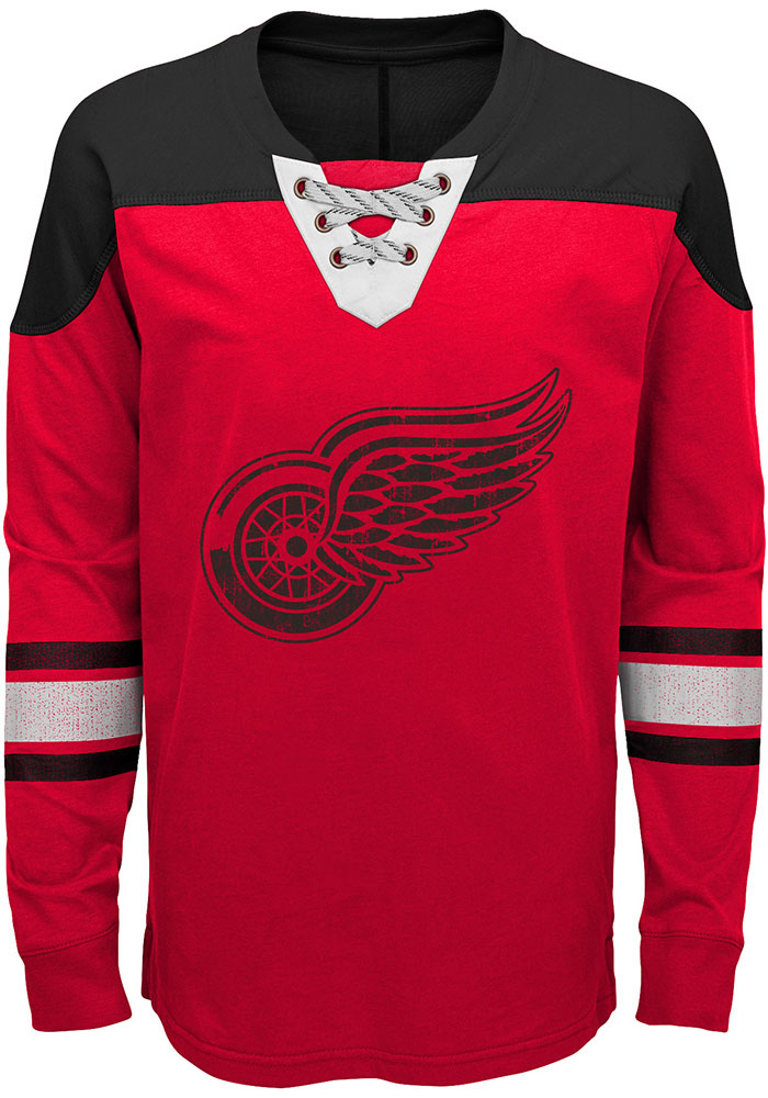Detroit Red Wings Youth Red Perennial Long Sleeve Crew Sweatshirt - Image 1
