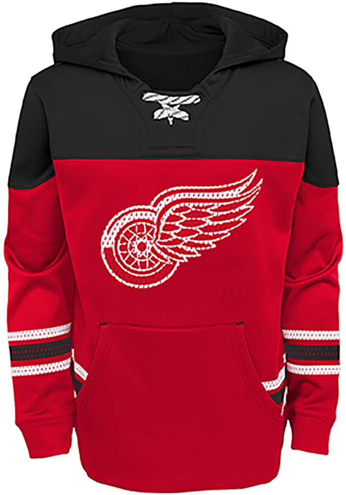 Detroit Red Wings Youth Red Freezer Long Sleeve Hoodie - Image 1