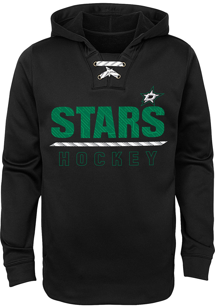 Dallas Stars Youth Black Lace 'Em Up Long Sleeve Hoodie - Image 1