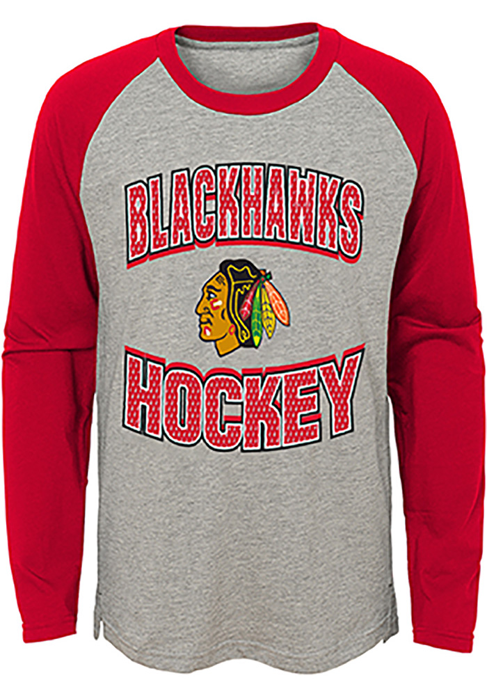 Chicago Blackhawks Youth Grey Assist Long Sleeve Fashion T-Shirt - Image 1