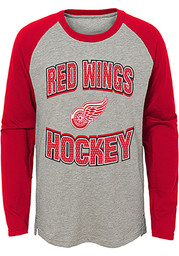 Detroit Red Wings Youth Grey Assist Long Sleeve Fashion T-Shirt
