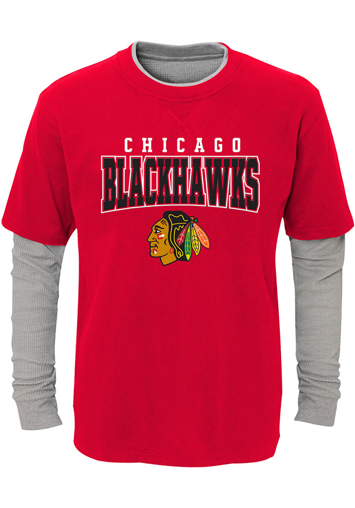 Chicago Blackhawks Youth Red Playmaker Long Sleeve Fashion T-Shirt - Image 1
