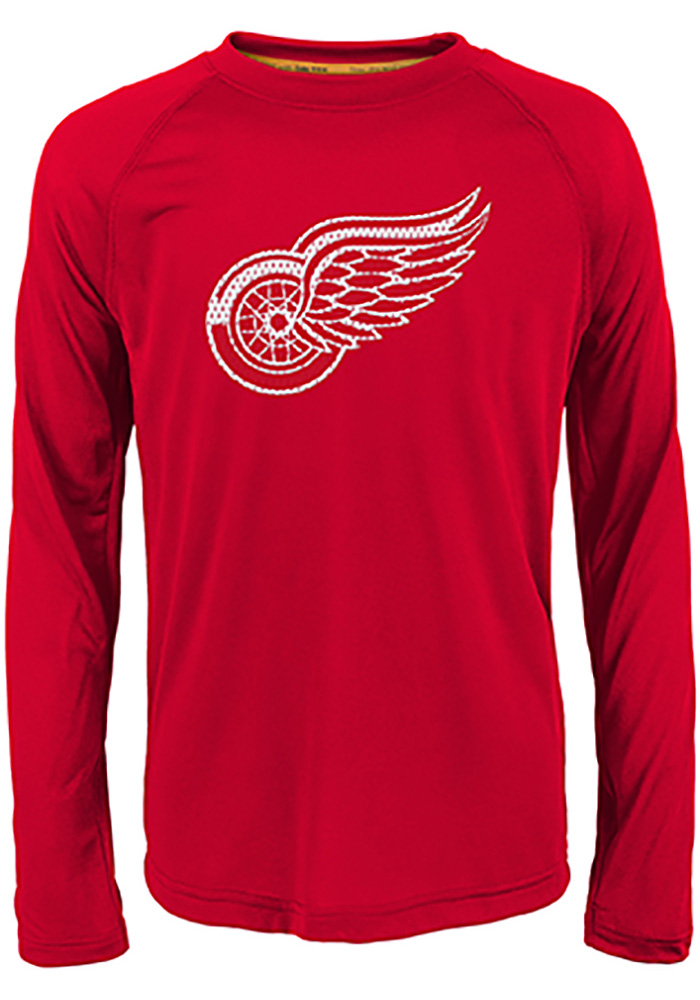 Detroit Red Wings Youth Red Grinder Long Sleeve T-Shirt - Image 1