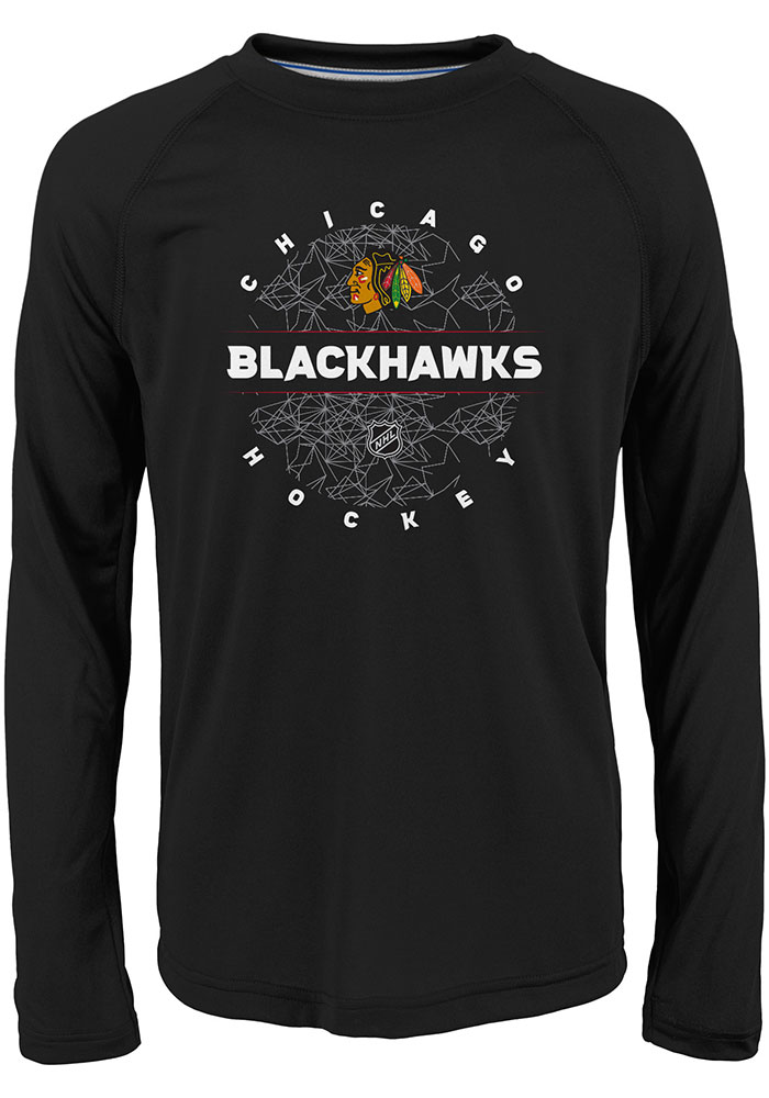 Chicago Blackhawks Youth Red Power Play Long Sleeve T-Shirt - Image 1