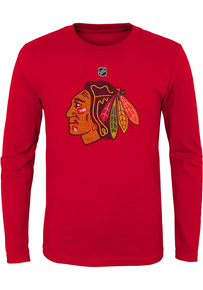 Chicago Blackhawks Youth Red Distressed Logo Long Sleeve T-Shirt - Image 1