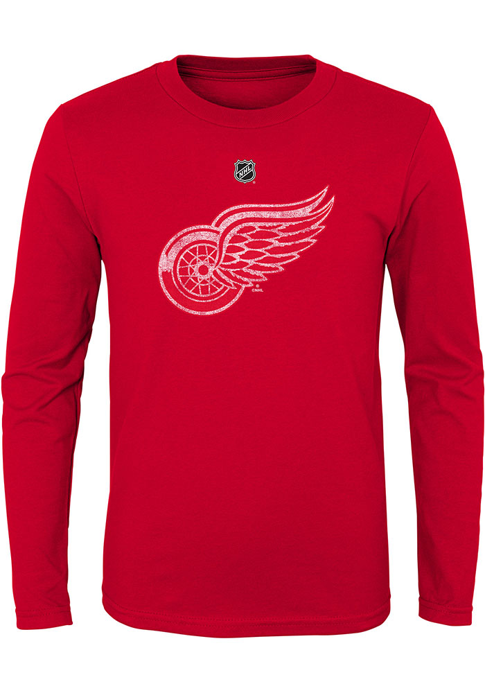Detroit Red Wings Youth Red Distressed Logo Long Sleeve T-Shirt - Image 1