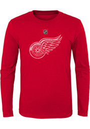Detroit Red Wings Youth Red Distressed Logo Long Sleeve T-Shirt