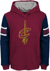 Cleveland Cavaliers Youth Block Action Hooded Sweatshirt - Red