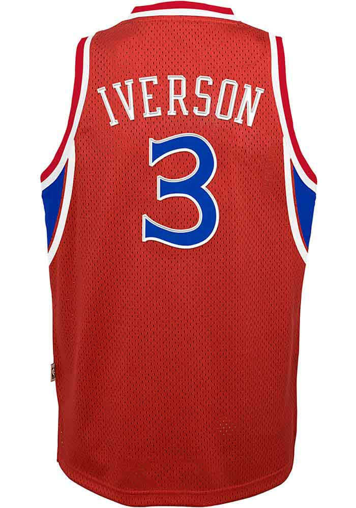 0db76b3f232 Allen Iverson Outer Stuff Philadelphia 76ers Youth Red 96-97 Alternate  Jersey