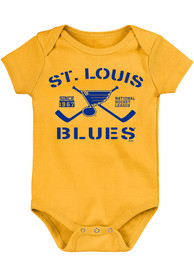 St Louis Blues Baby Crossed Sticks One Piece - Gold