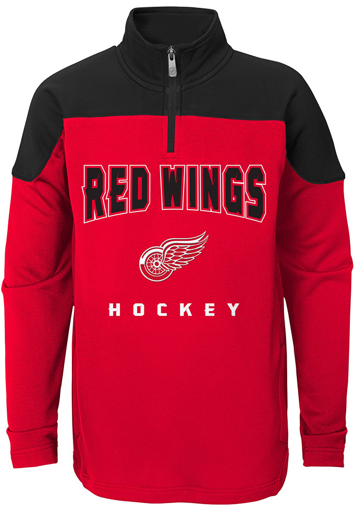 Detroit Red Wings Youth Red Pimary Long Sleeve Quarter Zip Shirt - Image 1