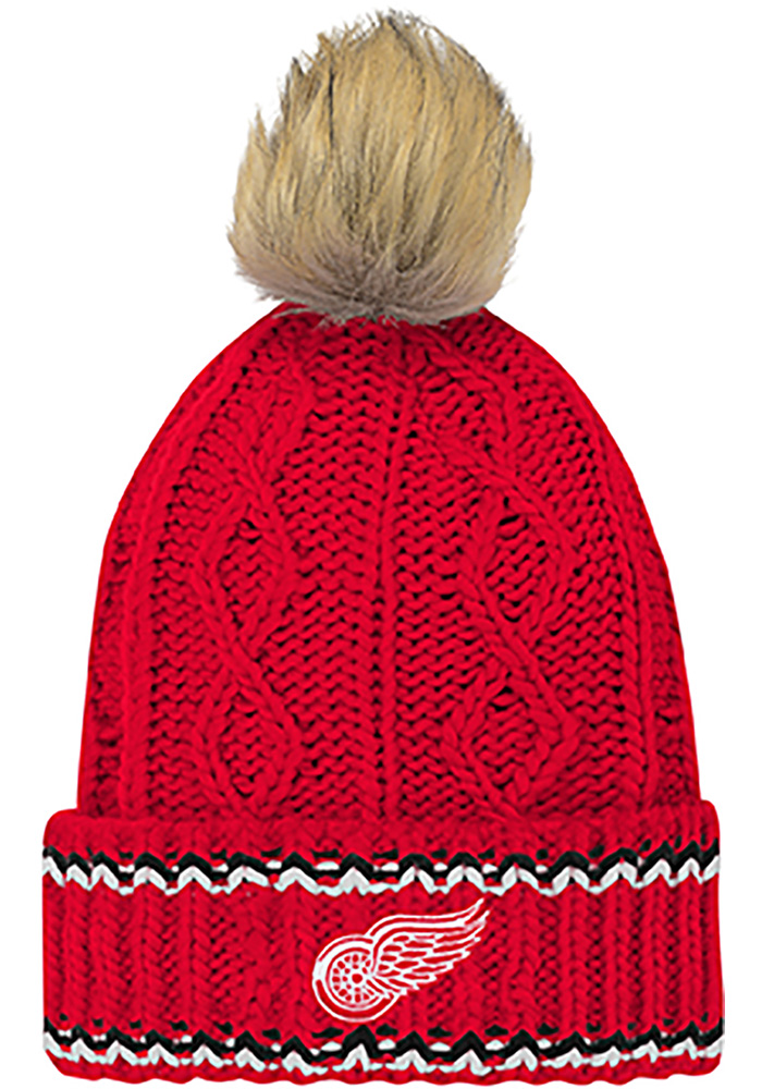 Detroit Red Wings Red Furry Youth Knit Hat - Image 1