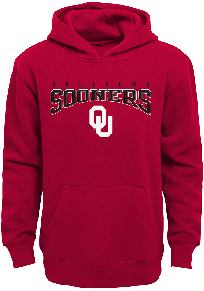 Oklahoma Sooners Youth Crimson Fadeout Long Sleeve Hoodie - Image 1