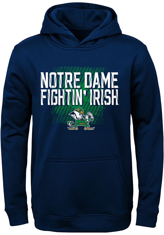 Notre Dame Fighting Irish Youth Navy Blue Attitude Long Sleeve Hoodie - Image 1