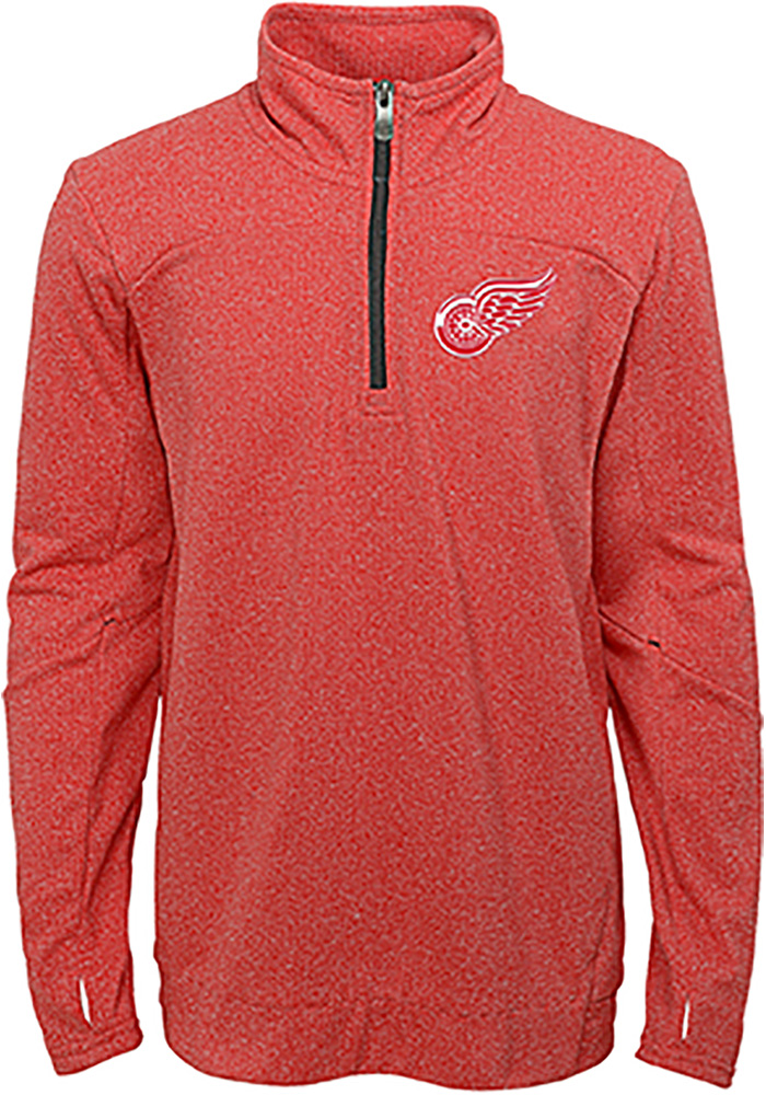 Detroit Red Wings Boys Red Polymer Long Sleeve 1/4 Zip Pullover - Image 1