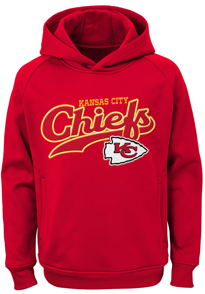 the latest c8639 6b7cf Kansas City Chiefs Youth Red Script Long Sleeve Hoodie