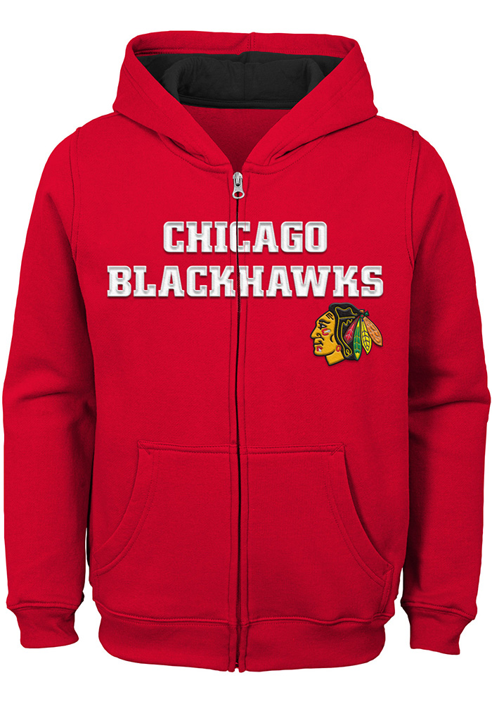 Chicago Blackhawks Boys Red Prime Long Sleeve Full Zip Hooded Sweatshirt - Image 1