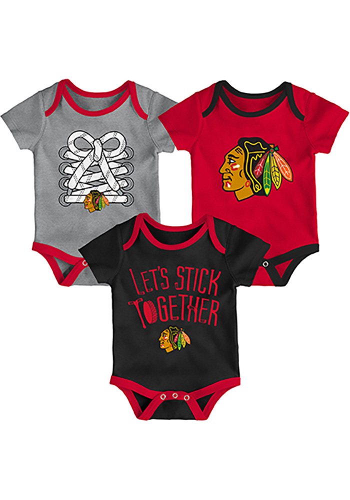 Chicago Blackhawks Baby Red Five on Three One Piece - Image 1