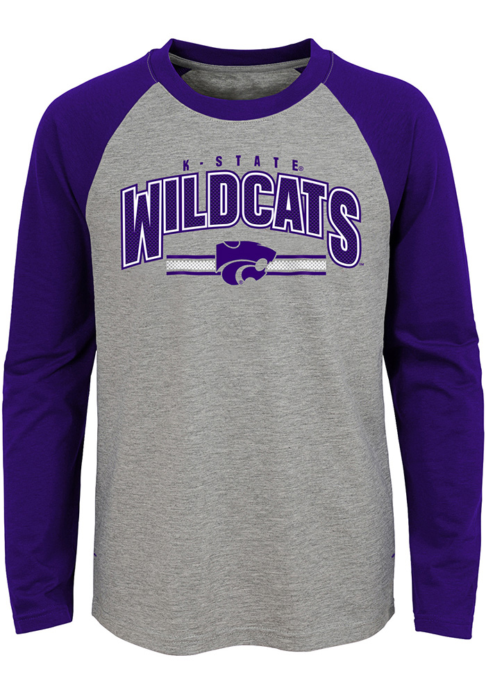 K-State Wildcats Youth Grey Audible Long Sleeve Fashion T-Shirt - Image 1