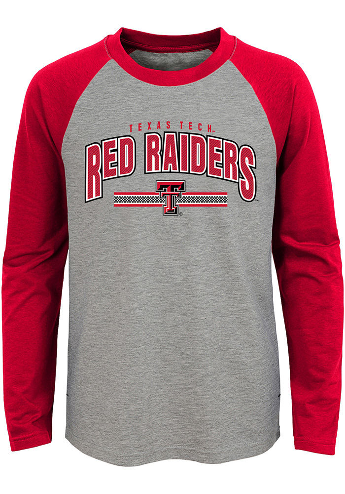 Texas Tech Red Raiders Youth Grey Audible Long Sleeve Fashion T-Shirt - Image 1