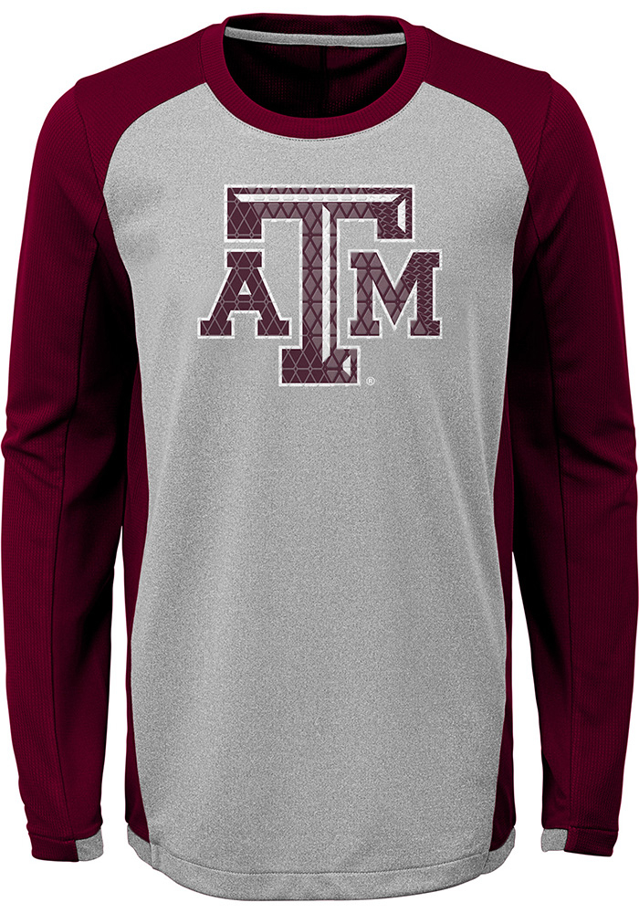 Texas A&M Aggies Youth Grey Mainframe Long Sleeve T-Shirt - Image 1